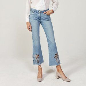 3x1 NYC Freja Eyelet Cropped Bell Jeans size 25